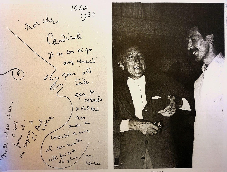 Franco Cardinali con Jean Cocteau: foto con dedica